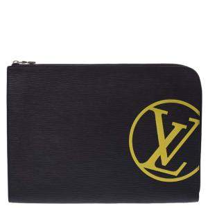 Louis Vuitton Black Epi Leather Pochette Jour GM Clutch Bag