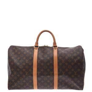 Louis Vuitton Brown Monogram Canvas Keepall 50 Bag