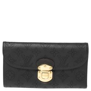 Louis Vuitton Black Monogram Mahina Leather Amelia Wallet