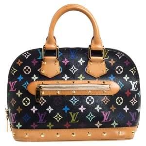 حقيبة لوي فيتون ألما كانفاس مونوغرامية متعددة الألوان سوداء صغيرة