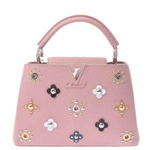 Louis Vuitton Pink Leather Mechanical Flowers Capucines PM bag