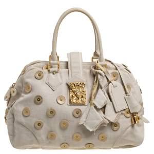 Louis Vuitton Light Beige Canvas Bowly Polka Dot Panama Bag