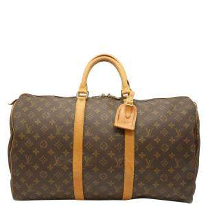 Louis Vuitton Brown Monogram Keepall 50 Boston Bag