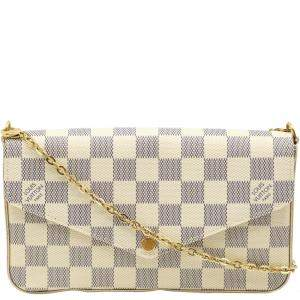 Louis Vuitton Blue/White Damier Azur Pochette Felicie Clutch Bag