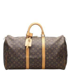 Louis Vuitton  Canvas  Keepall 50 Duffel Bags