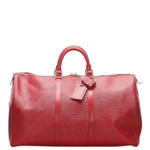 Louis Vuitton Red Leather Large Keepall 60 Duffel Bags