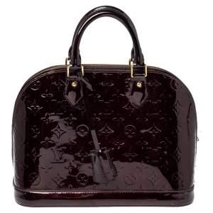 """حقيبة لوي فيتون """"ألما پي إم"""" جلد فيرنيه مونوغرامي عنابي PM"""