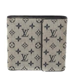 محفظة لوي فيتون كومباكت ثلاثية الطية كانفاس ميني لين أزرق