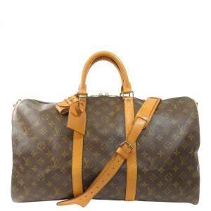 Louis Vuitton Brown Monogram Canvas Keepall Bandoulière 50 Bag
