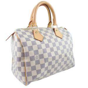 Louis Vuitton Creme/Navy Damier Azur canvas Speedy 25 Boston Bag