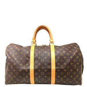 Louis Vuitton Brown Monogram Canvas Keepall 50 Boston Bag
