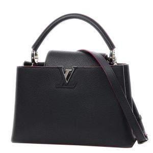 Louis Vuitton Black Snakeskin-Trimmed Leather Capucines PM Bag