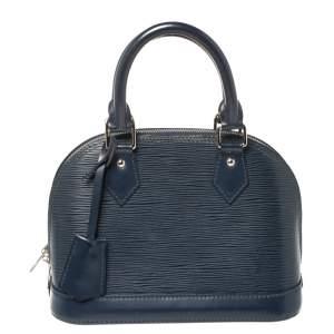 """حقيبة لوي فيتون """"ألما بي بي"""" جلد إيبي أزرق كحلي"""