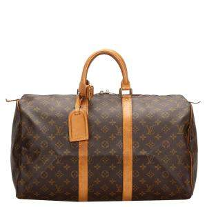 Louis Vuitton Brown Monogram Canvas Keepall 45 Bag