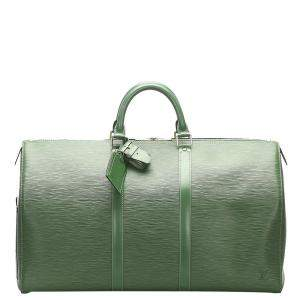 Louis Vuitton Green Epi Leather Keepall 55 Bag