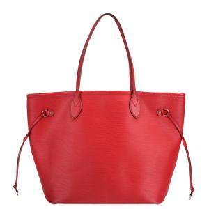 Louis Vuitton Red Epi Leather Neverfull MM Tote Bag
