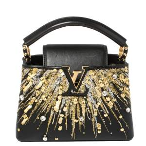 Louis Vuitton Black Leather Crystal Embellished Capucines Mini Bag