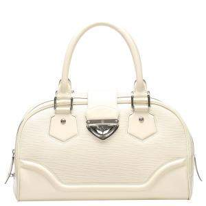Louis Vuitton White Epi Leather Montaigne Bowling GM Bag