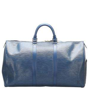 Louis Vuitton Blue Epi Leather Keepall 50 Bag
