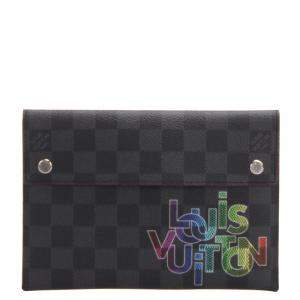 Louis Vuitton Black Damier Graphite Canvas Alpha Triple MM Pouch