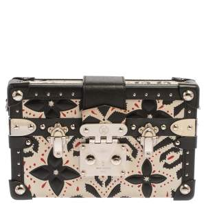 Louis Vuitton Black/White Graphic Print Leather Petite Malle Clutch Bag