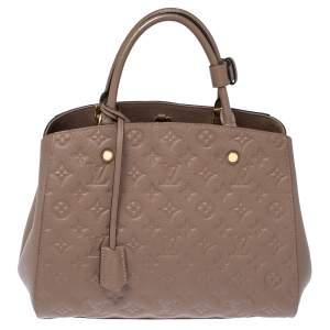 Louis Vuitton Taupe Monogram Empreinte Leather Montaigne MM Bag