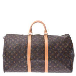 Louis Vuitton Brown Monogram Canvas  Keepall 55 Bag