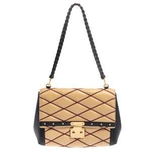 Louis Vuitton Beige/Black Leather Malletage Pochette Flap Bag