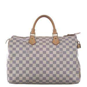 Louis Vuitton White Damier Azur Canvas Speedy 35 Bag
