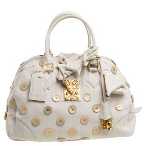 Louis Vuitton Light Beige Canvas Bowly Polka Dot Panama Bag