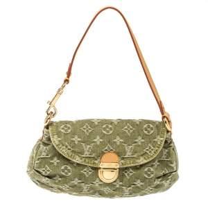 Louis Vuitton Green Monogram Denim Mini Pleaty Bag