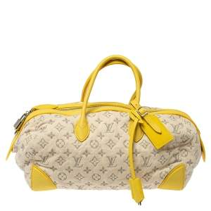 Louis Vuitton Jaune Monogram Denim Limited Edition Speedy Round MM Bag