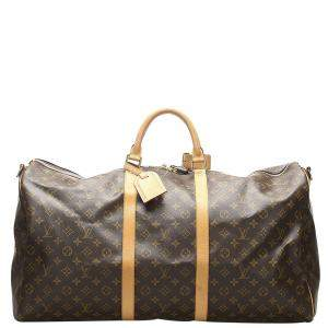 Louis Vuitton Brown Monogram Canvas Keepall 60 Bag