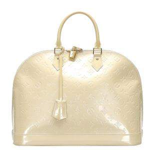 Louis Vuitton Cream Monogram Vernis Alma GM Bag