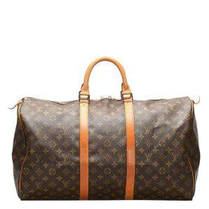 Louis Vuitton Brown Monogram Canvas Keepall Bandouliere 50 Bag