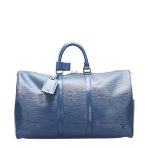 Louis Vuitton Blue Epi Leather Keepall 45 Bag