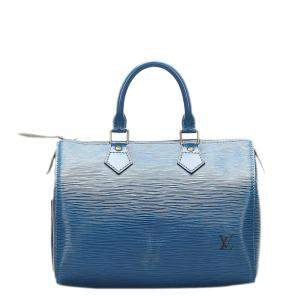 Louis Vuitton Blue Epi Leather Speedy 25 Bag