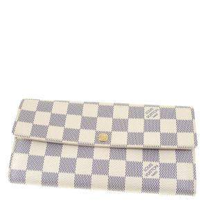 Louis Vuitton White Damier Azur Canvas Sarah Wallet