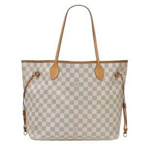 Louis Vuitton White/Grey Damier Azur Canvas Neverfull MM Bag