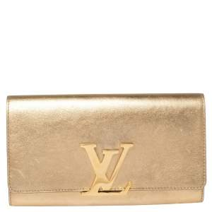 Louis Vuitton Metallic Gold Leather Louise Clutch