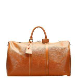 Louis Vuitton Brown Epi Leather Keepall 55 Bag