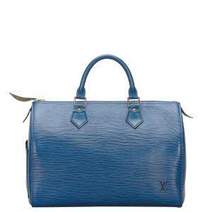 Louis Vuitton Blue Epi Leather Speedy 30 Bag