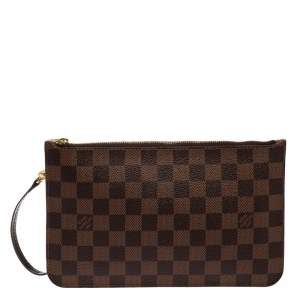 Louis Vuitton Damier Ebene Canvas Neverfull Pochette Clutch