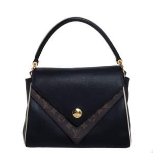 Louis Vuitton Black Leather and Monogram Canvas Double V Bag