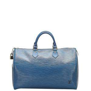 Louis Vuitton Blue Epi Leather Speedy 35 Bag