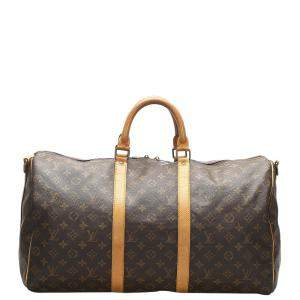 Louis Vuitton Brown Monogram Canvas Keepall Bandouliere 50 Bag