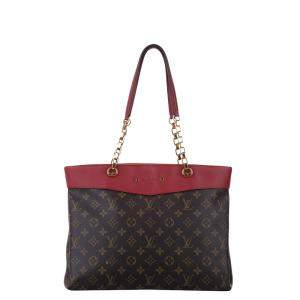 Louis Vuitton Brown/Red Monogram Canvas Pallas Shopper Bag