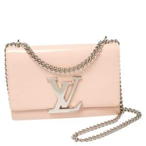 Louis Vuitton Rose Ballerine Patent Leather Chain Louise MM Bag