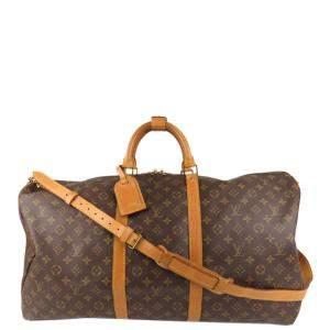 Louis Vuitton Brown Monogram Canvas Keepall Bandouliere 60 Bag