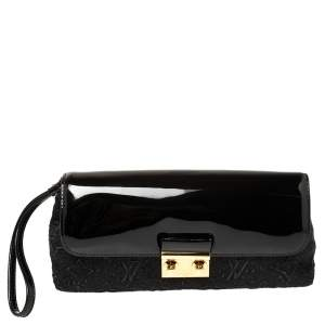 Louis Vuitton Black Patent Leather and Monogram Satin Dentelle Pochette